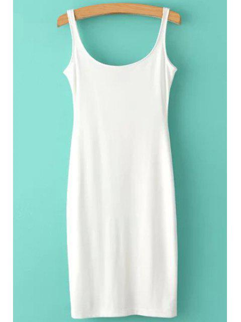 women's Solid Color Scoop Neck Sundress - WHITE L Mobile