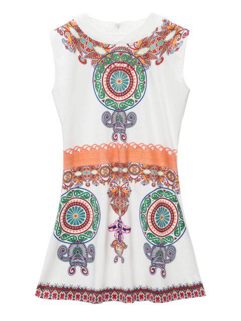 latest Retro Print Sleeveless Mini Dress - WHITE XL Mobile
