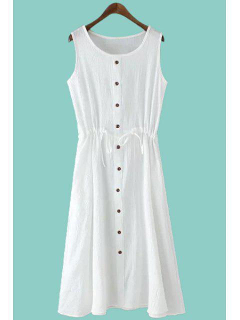buy Solid Color Single-Breasted Sundress - WHITE M Mobile