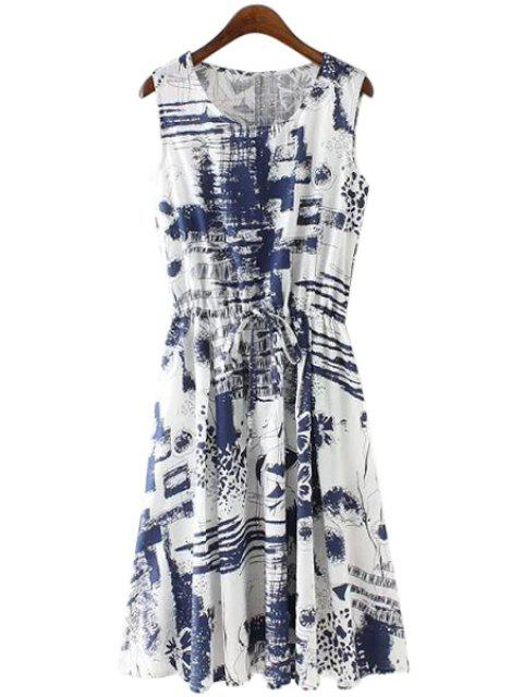affordable Print Linen Scoop Neck Sundress - BLUE S Mobile