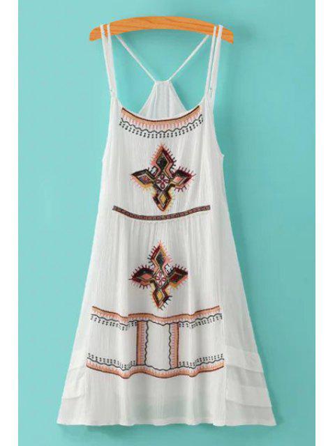 chic Spaghetti Strap Argyle Embroidery Sleeveless Dress - WHITE L Mobile