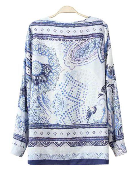 lady Polka Dot Floral Print Long Sleeve T-Shirt - BLUE AND WHITE S Mobile