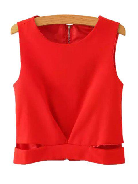 fashion Solid Color Back Zipper Openwork Tank Top - RED M Mobile