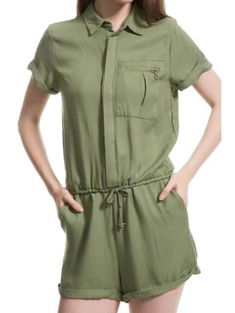 trendy Solid Color Tie-Up Pocket Short Sleeve Romper - GREEN M Mobile