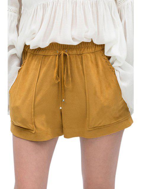 latest Elastic Waist Tie-Up Pocket Shorts - KHAKI XS Mobile