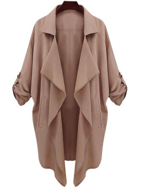 trendy Long Sleeve Solid Color Trench Coat - CAMEL S Mobile