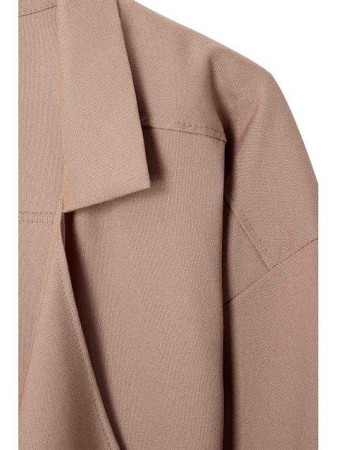 fancy Long Sleeve Solid Color Trench Coat - CAMEL XL Mobile