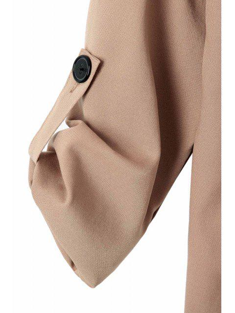 fashion Long Sleeve Solid Color Trench Coat - CAMEL M Mobile