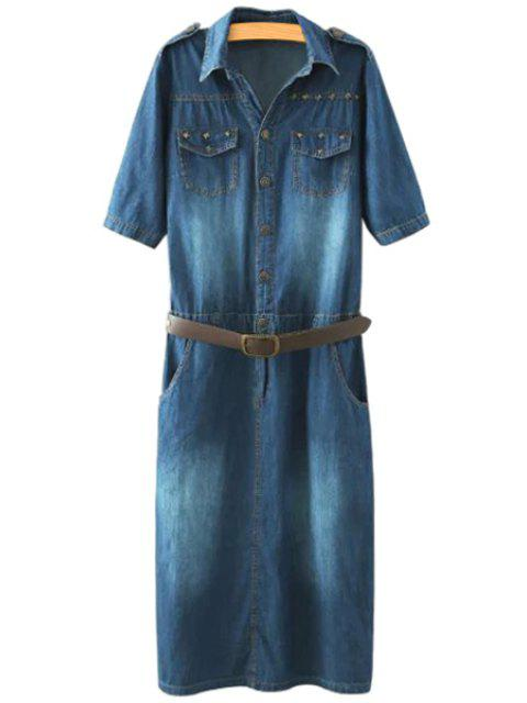 lady Denim Turn-Down Collar Short Sleeve Dress - PURPLISH BLUE M Mobile