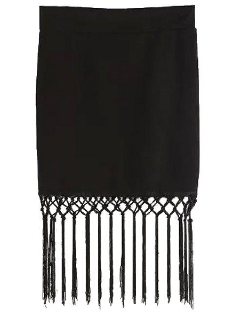 sale Tassels High Waisted Black Skirt - BLACK S Mobile