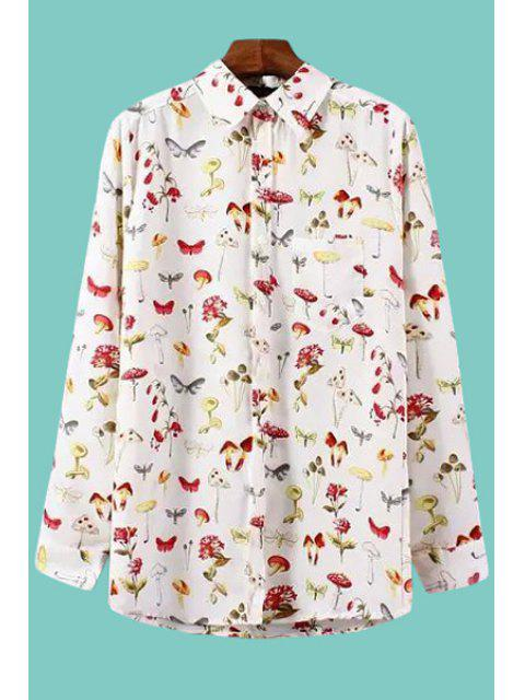 best Insect Floral Print Long Sleeve Shirt - WHITE L Mobile