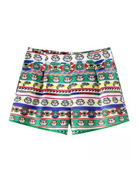 chic Cartoon Tiger Print Shorts - WHITE AND GREEN L Mobile