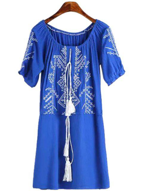 best Short Sleeves Embroidery Dress - LIGHT BLUE M Mobile