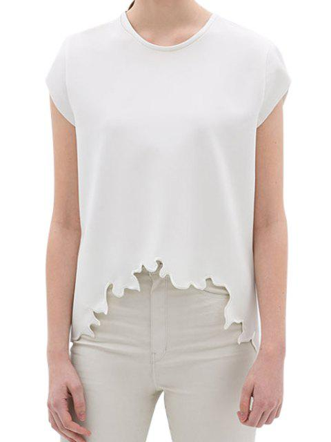 shops Solid Color Embroidery Short Sleeve T-Shirt - WHITE M Mobile