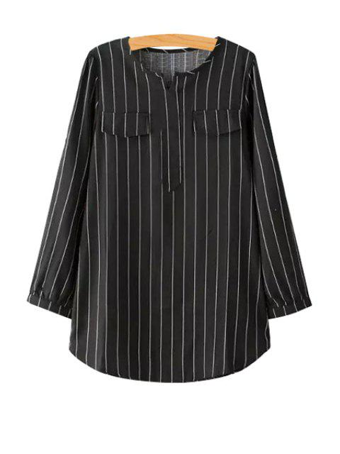 fashion V-Neck Striped Long Sleeve Shirt - BLACK M Mobile