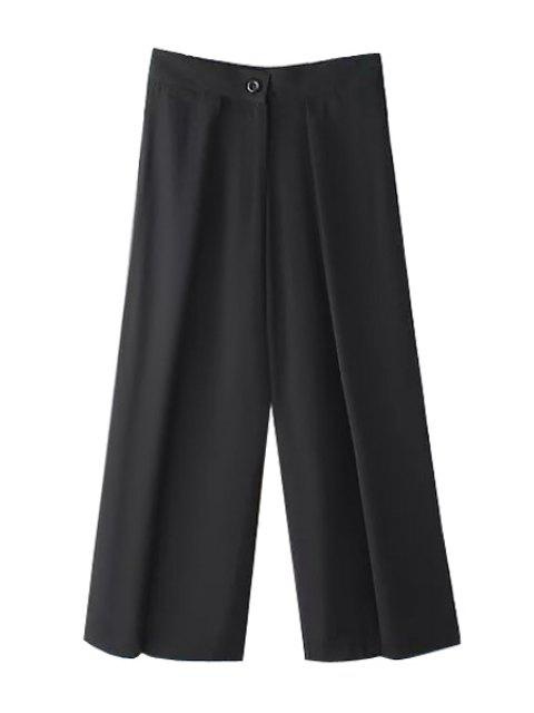 hot Solid Color Loose-Fitting Zipper Fly Pants - BLACK L Mobile
