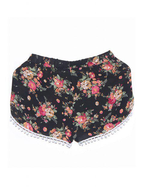 fashion Mid-Waisted Floral Print Ruffles Shorts - BLACK XL Mobile