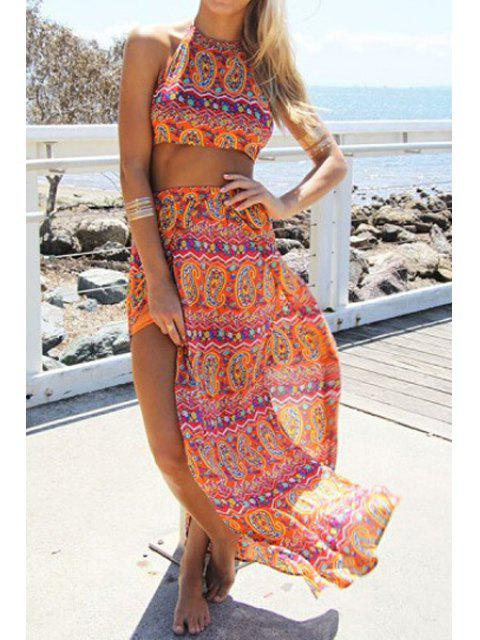 women's Halter Backless Crop Top + Ethnic Pattern Skirt Twinset - ORANGE L Mobile