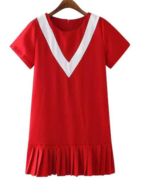 unique Pleated Splicing Short Sleeves Dress - RED L Mobile