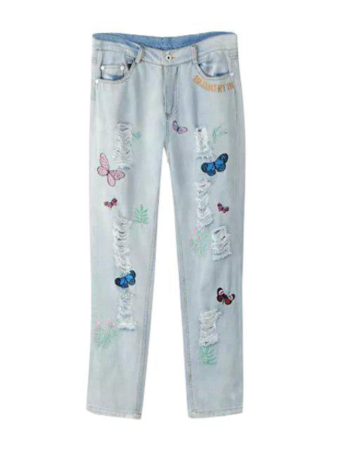 fancy Butterfly Embroidery Straight Leg Jeans - LIGHT BLUE M Mobile