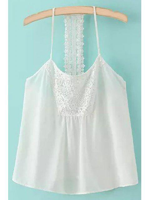 shop Spaghetti Strap Lace Splicing Backless Tank Top - WHITE S Mobile