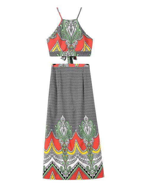 Costume en élastique à épaulettes et jupe imprimé vintage - Noir L Mobile