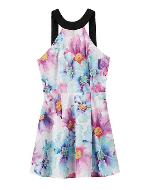 women Flower Print Sleeveless Backless Dress - LIGHT BLUE S Mobile