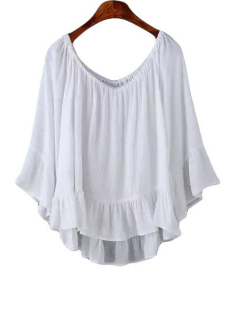 trendy Solid Color Flounce Long Sleeve Shirt - WHITE L Mobile