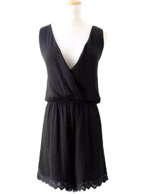 womens V-Neck  Lace Splicing Solid Color Romper - BLACK S Mobile