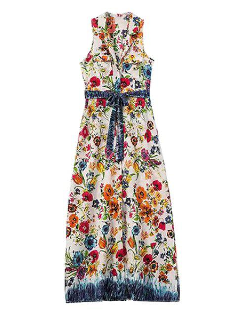 outfit Floral Lapel Sleeveless Maxi Dress - RED WITH WHITE L Mobile