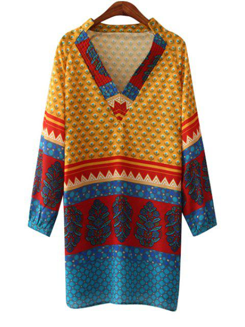 ladies Print Spliced V Neck Long Sleeve Dress - BLUE AND YELLOW M Mobile