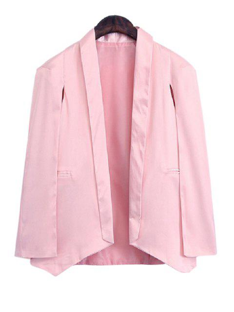 women's Shawl Collar Solid Color Asymmetrical Long Sleeve Blazer - PINK 3XL Mobile