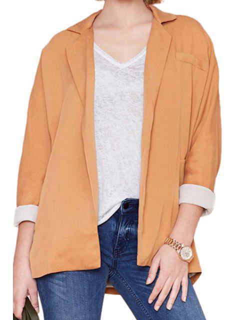 buy Orange Lapel Long Sleeve Blazer - ORANGE 2XL Mobile