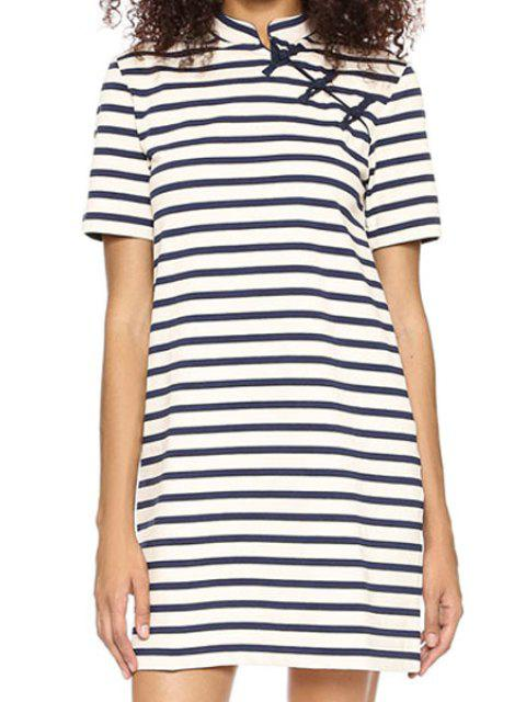 fancy Striped Stand Neck Short Sleeve Dress - STRIPE S Mobile