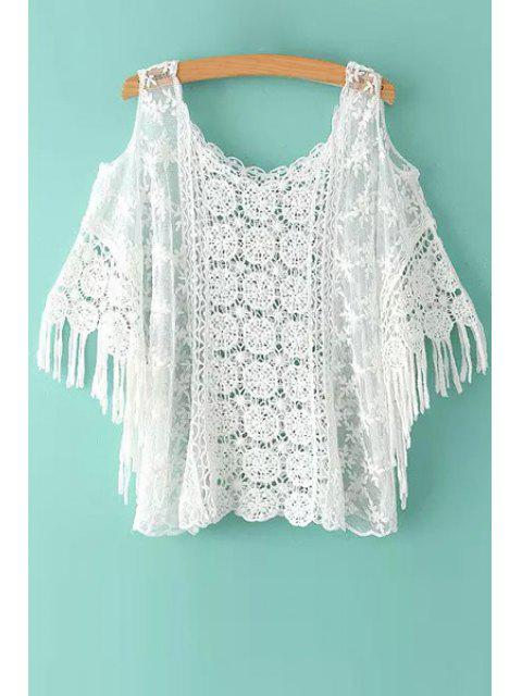 sale Floral Pattern Lace Hollow Out Short Sleeve T-Shirt - WHITE ONE SIZE(FIT SIZE XS TO M) Mobile