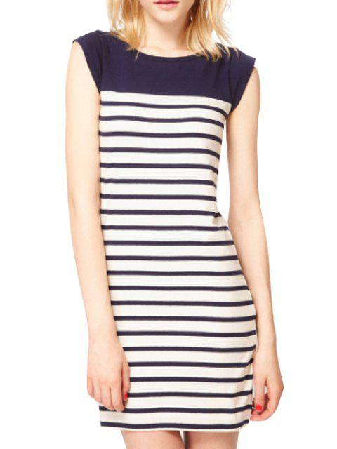 online Stripes Spliced Sleeveless Dress - STRIPE M Mobile