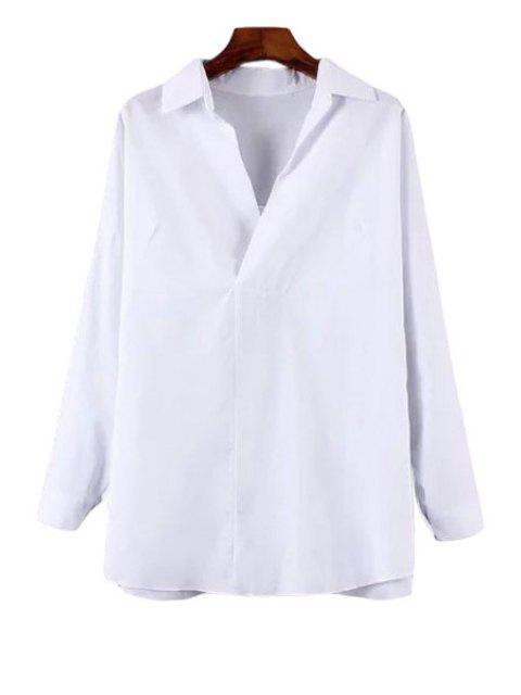 latest Turn-Down Collar Back Slit Long Sleeve Shirt - WHITE XL Mobile