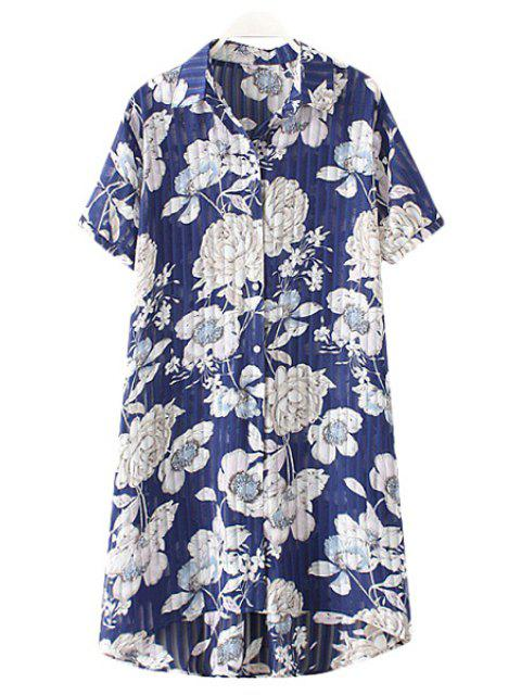 trendy Shirt Collar Chiffon Flower Print Single-Breasted Blouse - BLUE 2XL Mobile
