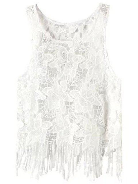 outfit Floral Pattern Tassels Spliced Lace Tank Top - WHITE L Mobile