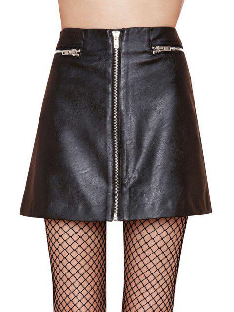 sale A Line PU Leather Skirt - BLACK 2XL Mobile