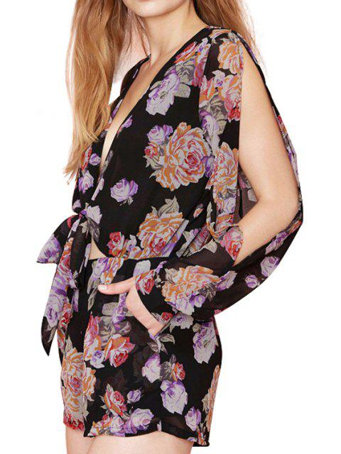women Floral Plunging Neck Chiffon Romper - BLACK XL Mobile