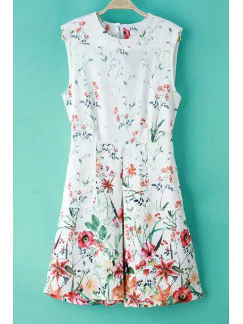 affordable Round Neck Floral Print Ruffled Zippered Dress - WHITE S Mobile