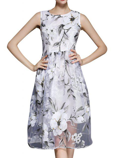 buy Floral Voile A Line Sundress - WHITE S Mobile