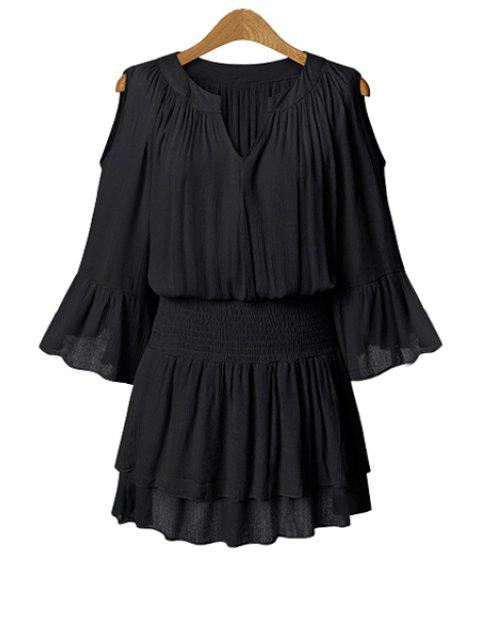 shops Solid Color 3/4 Sleeve Hollow Dress - BLACK 5XL Mobile