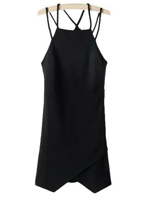 latest Irregular Hem Spaghetti Strap Dress - BLACK M Mobile