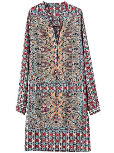 ladies Argyle Pattern Printed Long Sleeve Dress - BLUE AND RED M Mobile