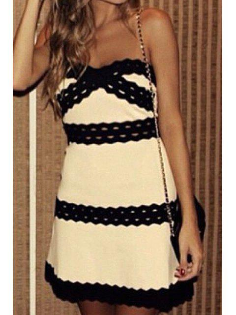 women's Strapless Color Block Stripe Sleeveless Dress - OFF-WHITE S Mobile