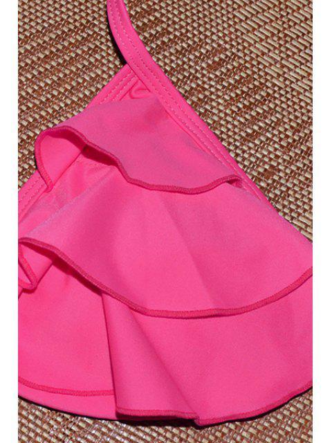 shops Ruffles Spliced Halter Bikini Set - ROSE S Mobile