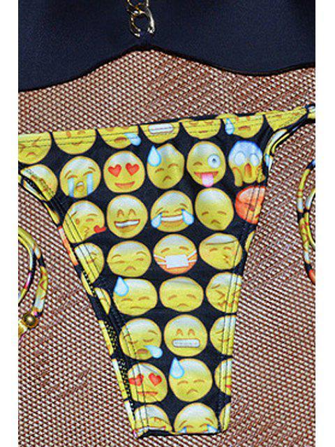 Ensemble de bikini sans bretelles Emoji Print - Noir S Mobile