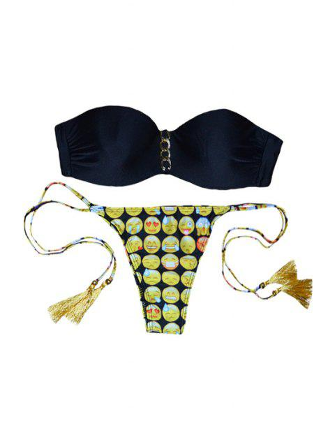 fancy Emoji Print Strapless Bikini Set - BLACK S Mobile